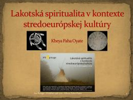 Lakotská spiritualita v kontexte stredoeurópskej kultúry