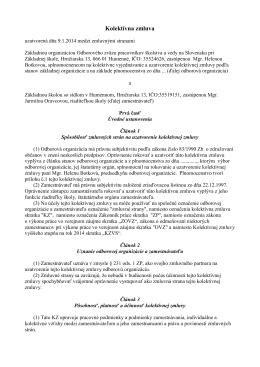 Kolektívna zmluva zo dňa 9.1.2014