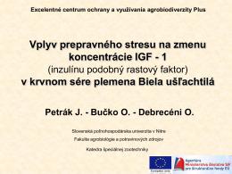 Vplyv prepravného stresu na zmenu koncentrácie IGF - 1 v