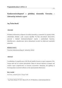 Konkurencieschopnosť v globálnej ekonomike Eurozóny