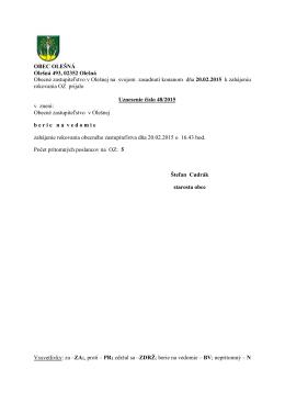 Uznesenia OZ zo dňa 20.02.2015 č. 048-077/2015