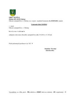 Uznesenia OZ zo dňa 05.09.2014 č. 210-233/2014