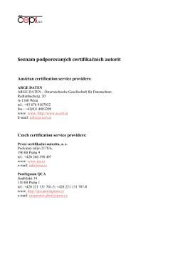 Seznam podporovaných certifikačních autorit