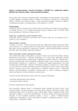 Správa o transparentnosti 2013
