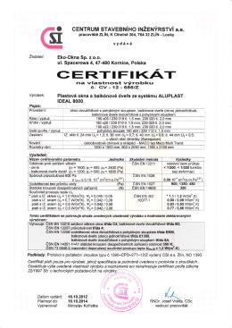 Certyfikat CSI Zlin Ideal 8000