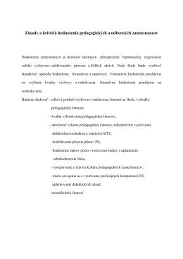 Zásady a kritériá hodnotenia pedagogických a odborných
