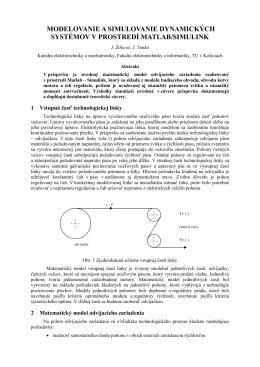 modelovanie a simulovanie dynamických systémov v