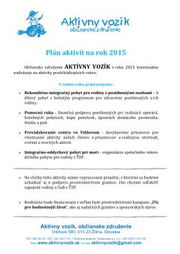 Plán aktivít na rok 2015