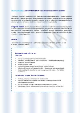 Asistent riadenia - sociálneho subsystému podniku