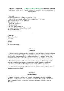 Študentská zmluva 2012-2013 na 10 mesiacov - Mlyny