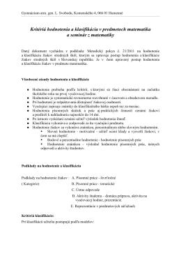 Kritériá hodnotenia a klasifikácia v predmetoch matematika a