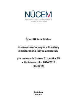 Špecifikácia testov z vyučovacích jazykov T5-2014