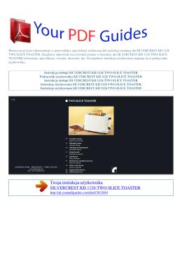 Instrukcje obsługi SILVERCREST KH 1126 TWO