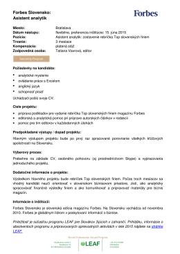 Forbes Slovensko: Asistent analytik