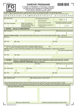 Daňové priznanie FO typu A