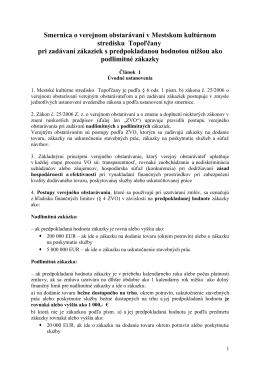 Smernica o verejnom obstarávaní pri zadávaní
