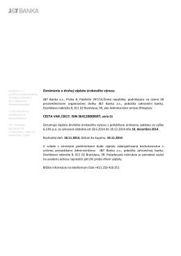 Oznámenie o druhej výplate úrokového výnosu CEETA