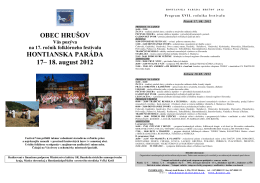 OBEC HRUŠOV HONTIANSKA PARÁDA 17– 18. august 2012