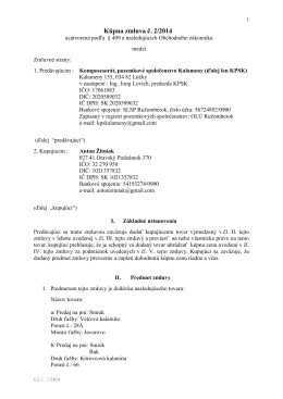 Kupna zmluva č. 2 / 2014 - KOMPOSESORÁT, POZEMKOVÉ