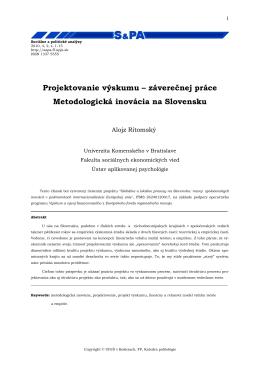 Projektovanie výskumu - SOCIÁlNE a POLITICKÉ ANALÝZY