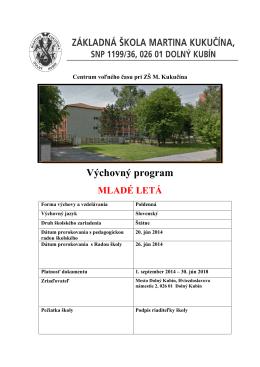 Výchovný program - CVČ pri ZŠ M. Kukučína