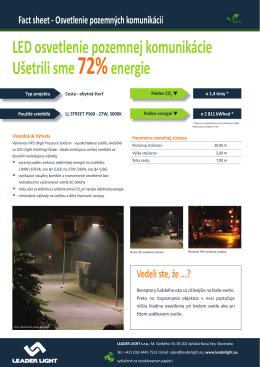 LED osvetlenie pozemnej komunikácie Ušetrili sme72