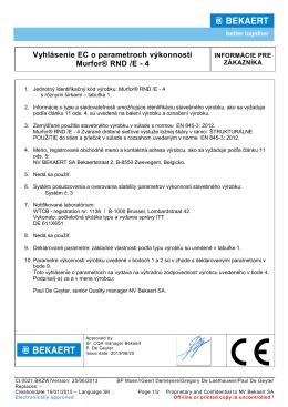 Vyhlásenie EC o parametroch výkonnosti Murfor