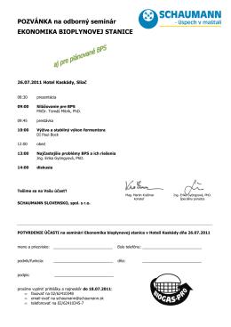 Ekonomika bioplynovej stanice - SCHAUMANN SLOVENSKO, spol
