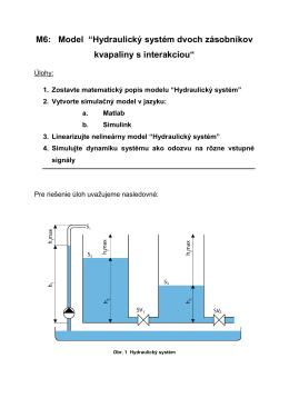 Hydraulický systém - dve nádoby v interakcii
