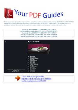 Instrukcje obsługi BIFINETT KH 1610 FOOD WARMER