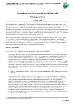 Pozícia AEF k 1. návrhu OPRH 2014-2020 z dielne MPRV