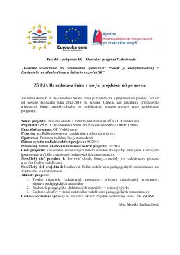 ZŠ P.O. Hviezdoslava Snina s novým projektom učí po novom