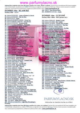 Zoznam parfémov FM Group