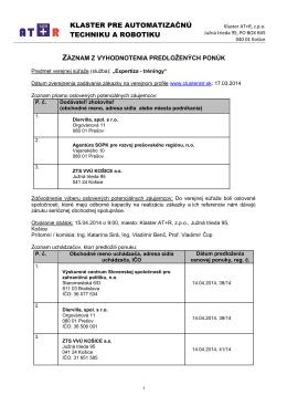 Zapis z prieskumu trhu VO