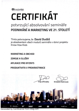 CERTIFIKAT - DavidDudas.cz
