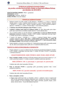 Kritériá pre prijímacie konanie žiakov do prvého ročníka