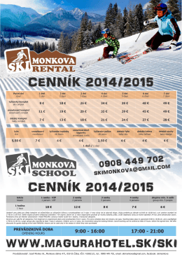 Cenník SKI MONKOVA RENTAL & SCHOOL 2014