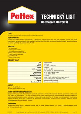Technický list PATTEX CHEMOPRÉN UNIVERZÁL