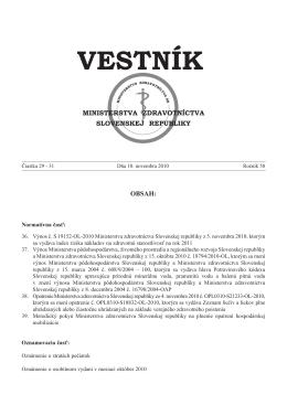 Vestník MZ SR 2010, 29-31 - Ministerstvo zdravotníctva SR