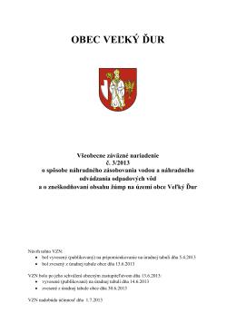 OBEC VEĽKÝ ĎUR Všeobecne záväzné nariadenie č. 3/2013 o