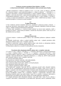 VZN č. 11/2011 o riešení krízových situácií v zásobovaní