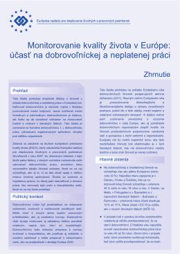 Monitorovanie kvality života v Európe - Eurofound