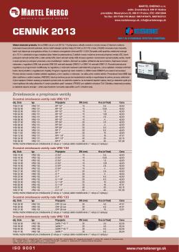 CENNÍK 2013 - Martel Energo, meracia a regulačná technika