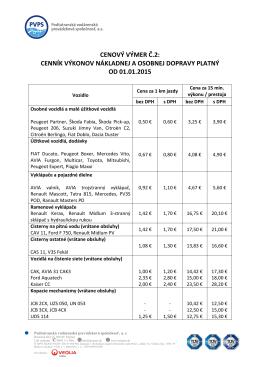 Cenový výmer č.2 - Podtatranská vodárenská prevádzková