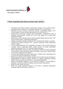 Výhody kompaktnej odovzdávacej stanice tepla ( KOST ):
