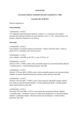 Uznesenie zo dňa 16. 8. 2012