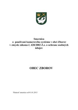 Smernica o používaní kamerového systému v obci Zborov