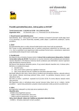 """Pravidlá spotrebiteľskej akcie """"Vyhraj palivo za 50 EUR"""""""
