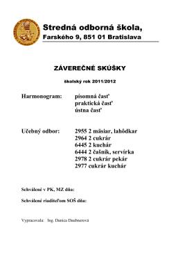 Harmonogram - Stredná odborná škola