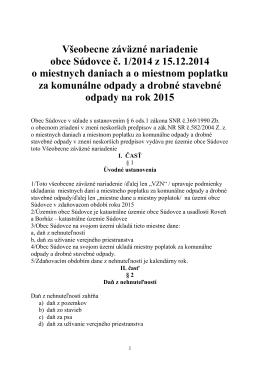 Všeobecné záväzné nariadenie na rok 2015